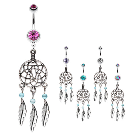 Dangling Belly Ring. Cute Belly Rings. Lakota Dream Catcher Navel Ring