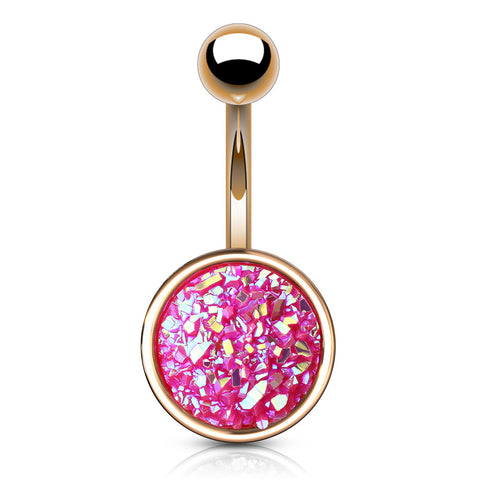 Pink Druzy Resin Bezel Cup Belly Bars in Rose Gold
