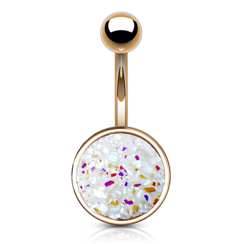 Druzy Resin Bezel Cup Belly Bars in Rose Gold - Basic Curved Barbell. Navel Rings Australia.