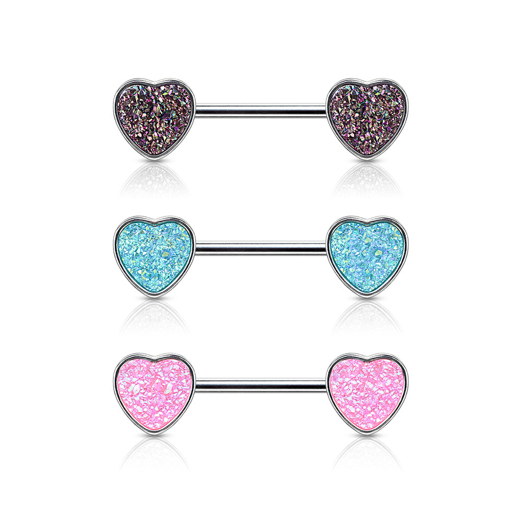 Druzy Love Heart Nipple Ring - Nipple Ring. Navel Rings Australia.