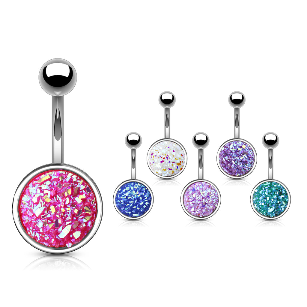 Druzy Resin Bezel Cup Belly Bars - Basic Curved Barbell. Navel Rings Australia.
