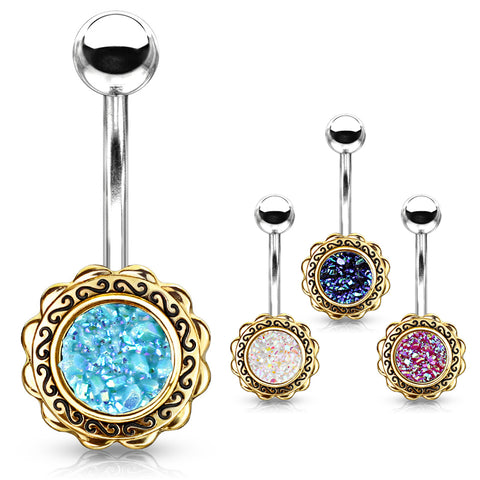 Fixed (non-dangle) Belly Bar. Cute Belly Rings. Boêmio Druzy Belly Bar in Rose Gold