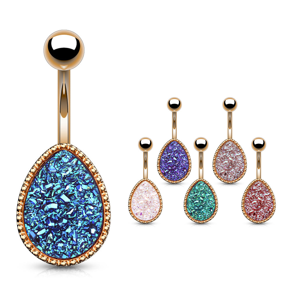 Drippin' Druzy Resin Teardrop Belly Bar in Rose Gold - Basic Curved Barbell. Navel Rings Australia.