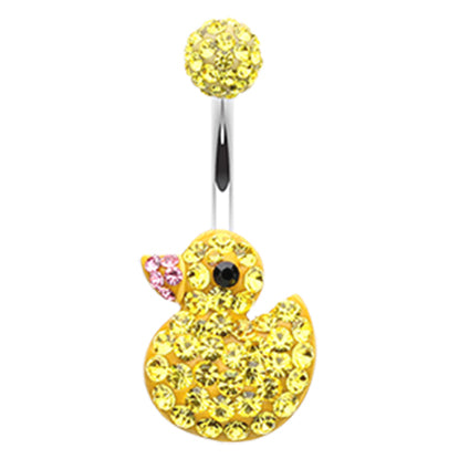 Fixed (non-dangle) Belly Bar. High End Belly Rings. Clucky Ducky Motley™ Belly Ring