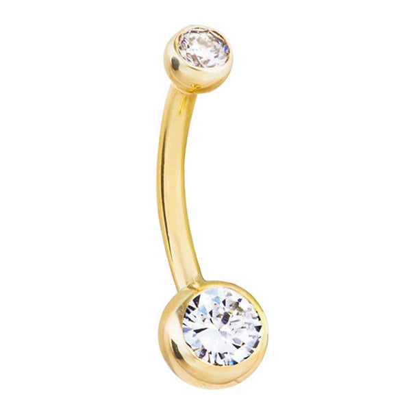 Classique Duo Authentic Diamond Belly Ring in 14K Gold - Basic Curved Barbell. Navel Rings Australia.