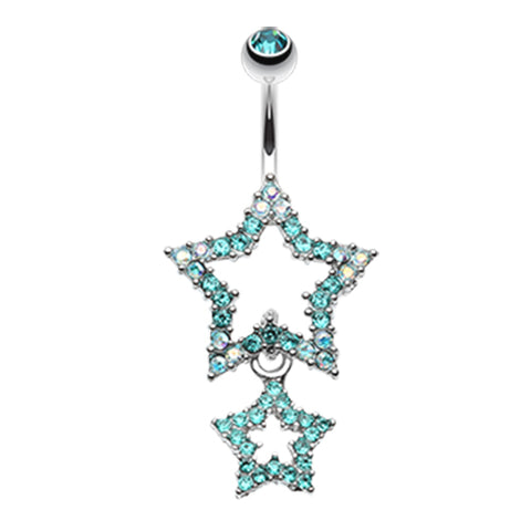 Aquamarine Orions Midnight Star Dangly Navel Ring