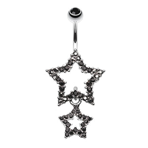 Orions Midnight Star Dangly Navel Ring - Dangling Belly Ring. Navel Rings Australia.