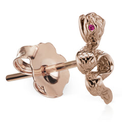 Genuine Snake Ruby Earring by Maria Tash in 18K Rose Gold. Butterfly Stud.