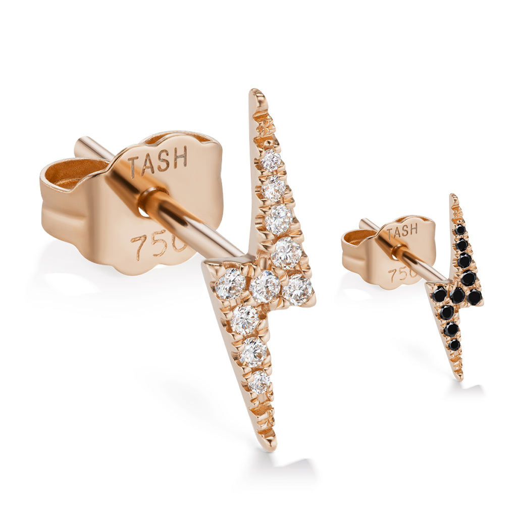 Genuine Lightning Bolt Diamond Earring by Maria Tash in 14K Rose Gold. Butterfly Stud. - Earring. Navel Rings Australia.