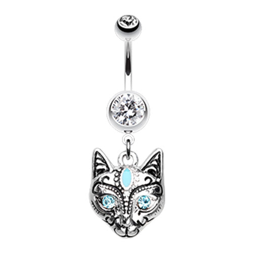 The Mau Egyptian Cat Belly Ring - Dangling Belly Ring. Navel Rings Australia.