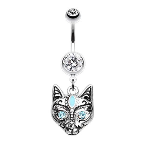 Dangling Belly Ring. Belly Bars Australia. The Mau Egyptian Cat Belly Ring