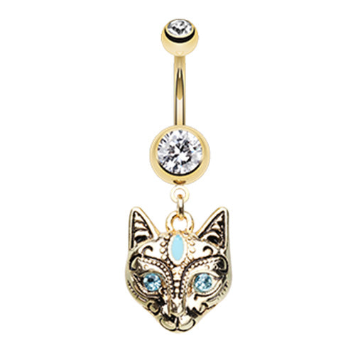 The Mau Egyptian Cat Belly Ring in Gold - Dangling Belly Ring. Navel Rings Australia.