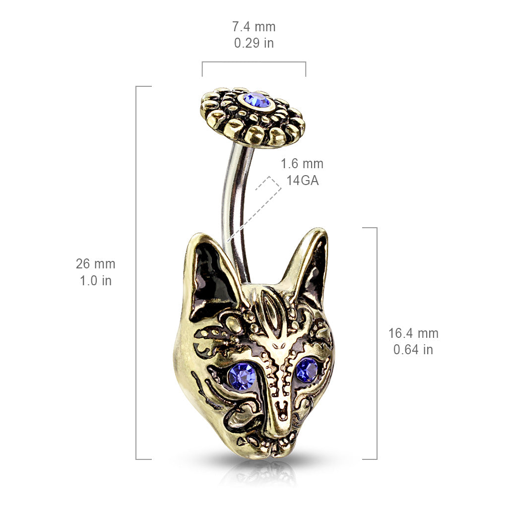 Fixed (non-dangle) Belly Bar. Belly Rings Australia. Egypts Bastet Cat Belly Bar in Gold