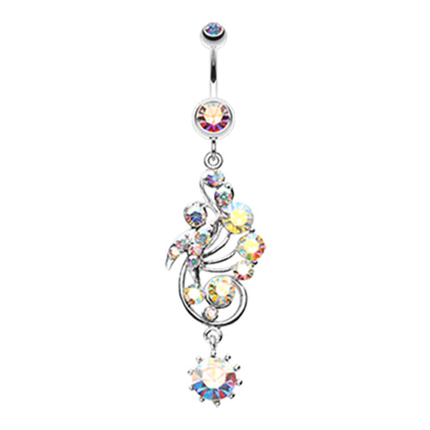 Aurora Borealis Regal Rush Belly Dangle