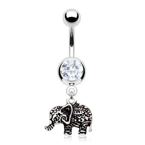 My Henna Elephant Belly Bar - Dangling Belly Ring. Navel Rings Australia.