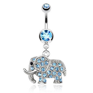 Gem Encrusted Elephant Belly Bar - Dangling Belly Ring. Navel Rings Australia.
