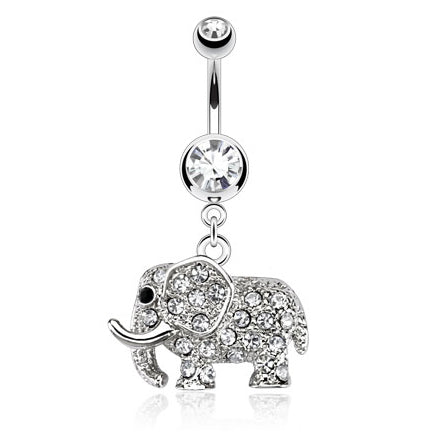 Dangling Belly Ring. Shop Belly Rings. Gem Encrusted Elephant Belly Bar