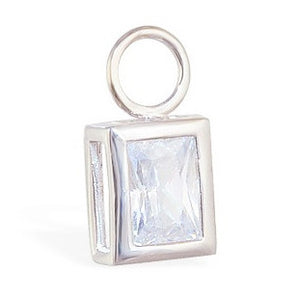 TummyToys® Bezel Set Emerald Cut Cubic Zirconia Charm - TummyToys® Swinger Charm. Navel Rings Australia.