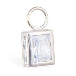 TummyToys® Swinger Charm. Belly Bars Australia. TummyToys® Bezel Set Emerald Cut Cubic Zirconia Charm