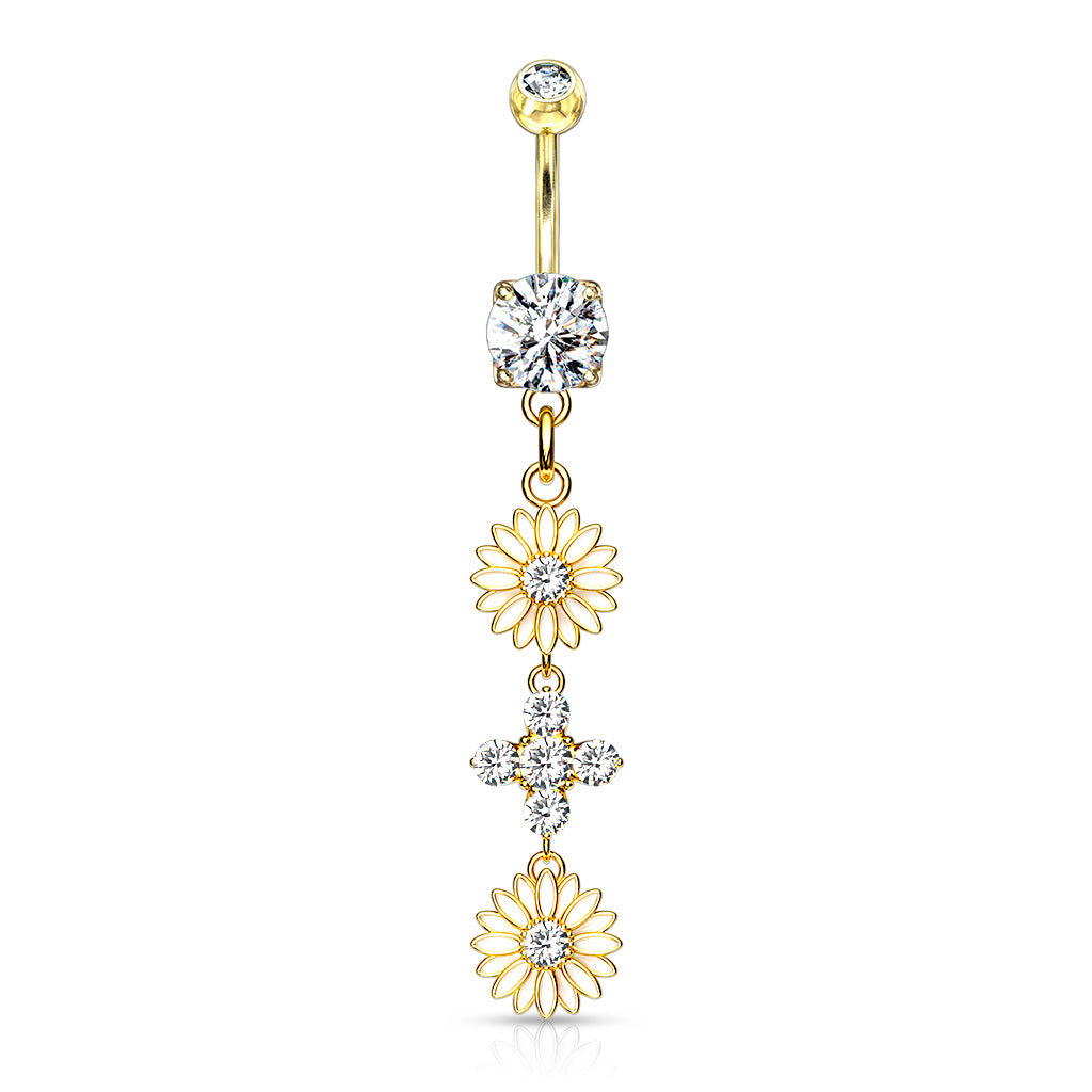 Uniting Daisy Chain Belly Ring in Gold - Dangling Belly Ring. Navel Rings Australia.