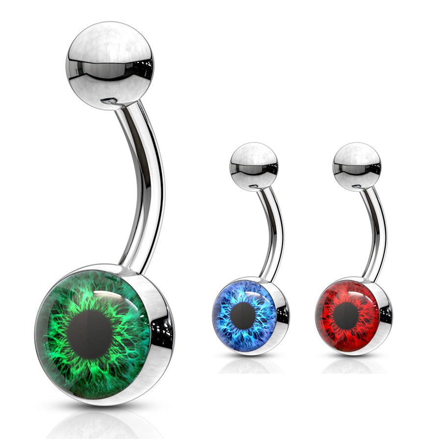 I C U Eyeball Belly Bars - Basic Curved Barbell. Navel Rings Australia.