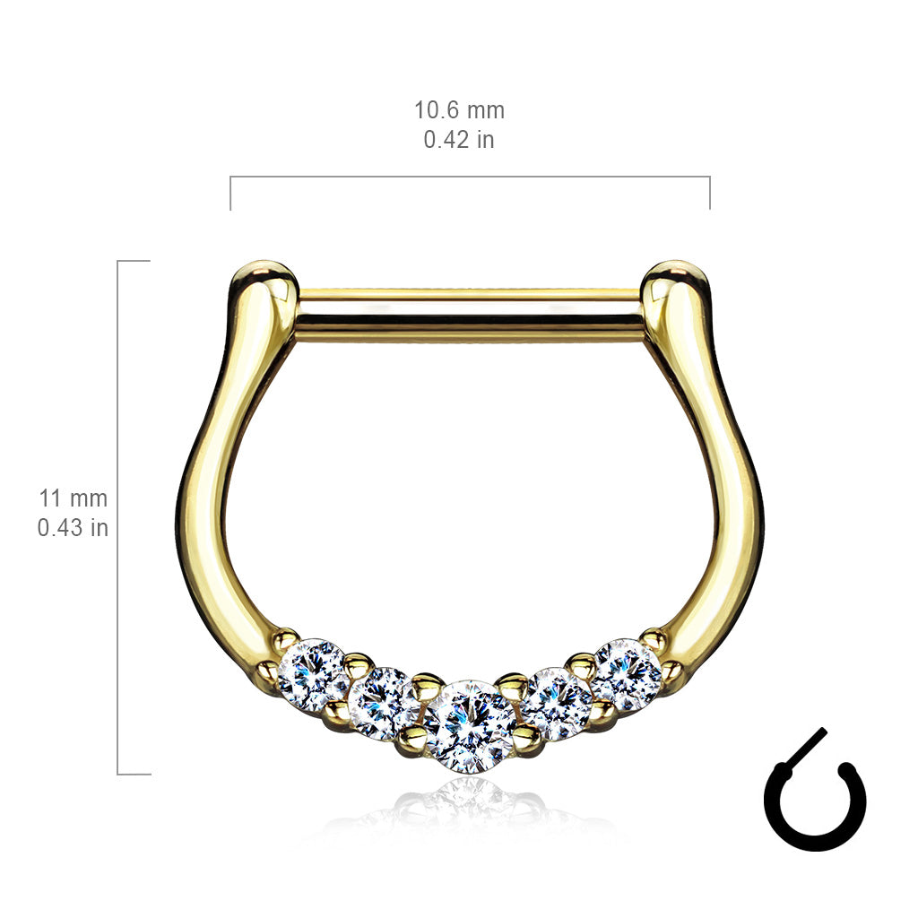 Septum. Belly Bars Australia. Quinque Septum Ring in 14K Gold