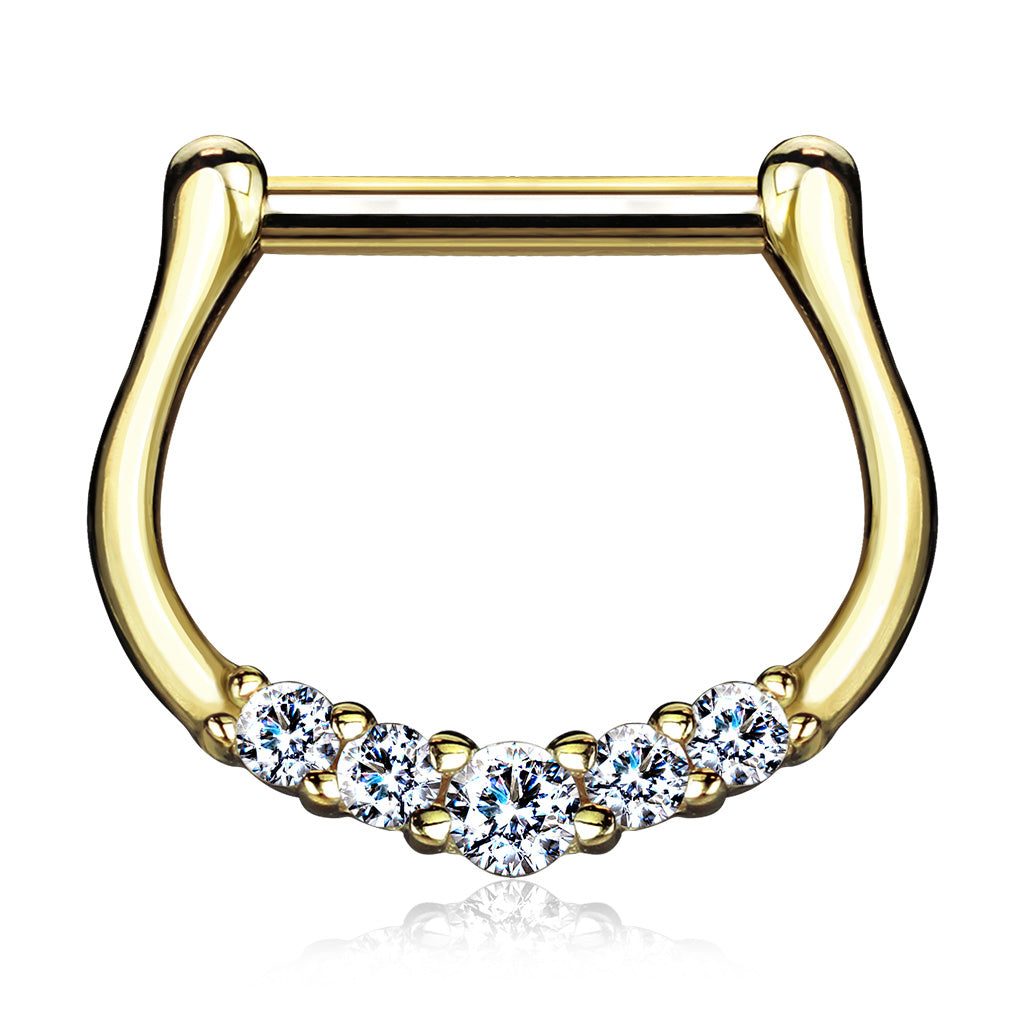 Quinque Septum Ring in 14K Gold - Septum. Navel Rings Australia.