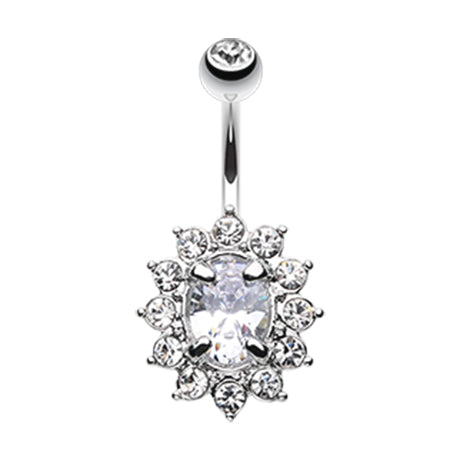 Gurlz Oval Gem Navel Ring - Fixed (non-dangle) Belly Bar. Navel Rings Australia.