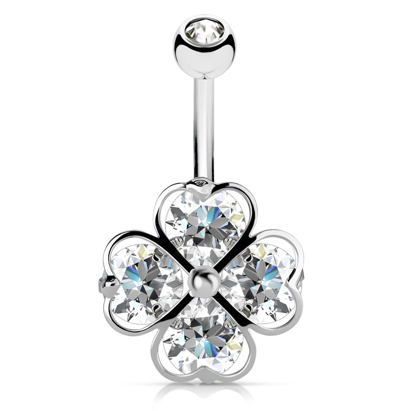 Crystal Clover Navel Bar - Fixed (non-dangle) Belly Bar. Navel Rings Australia.
