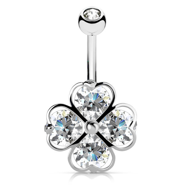 3240ea09b 316L Surgical Steel. 14g 10mm. Crystal Clover Navel Bar - Fixed (non-dangle)  Belly Bar. Navel Rings
