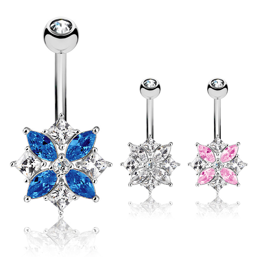 Lozzies' Floral Belly Bar - Fixed (non-dangle) Belly Bar. Navel Rings Australia.