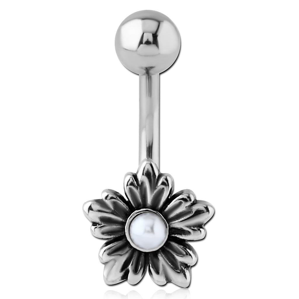 My Pearly Flower Belly Ring - Fixed (non-dangle) Belly Bar. Navel Rings Australia.