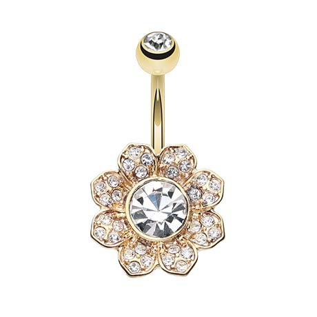 Fixed (non-dangle) Belly Bar. Cute Belly Rings. Gold Avens Flower Belly Bar