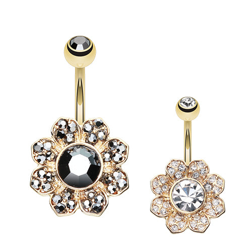 Gold Avens Flower Belly Bar - Fixed (non-dangle) Belly Bar. Navel Rings Australia.