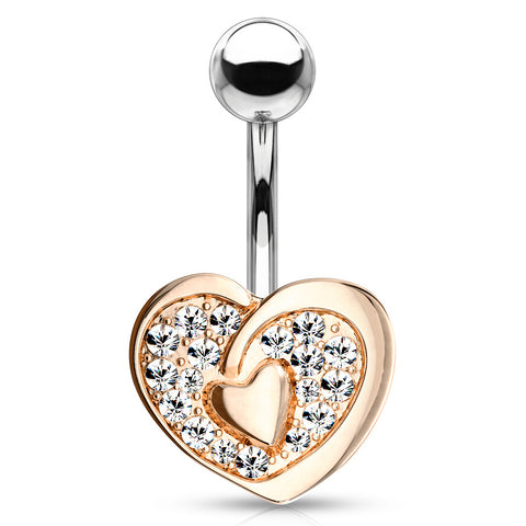 Vous et Moi Lovers Belly Bar in Rose Gold