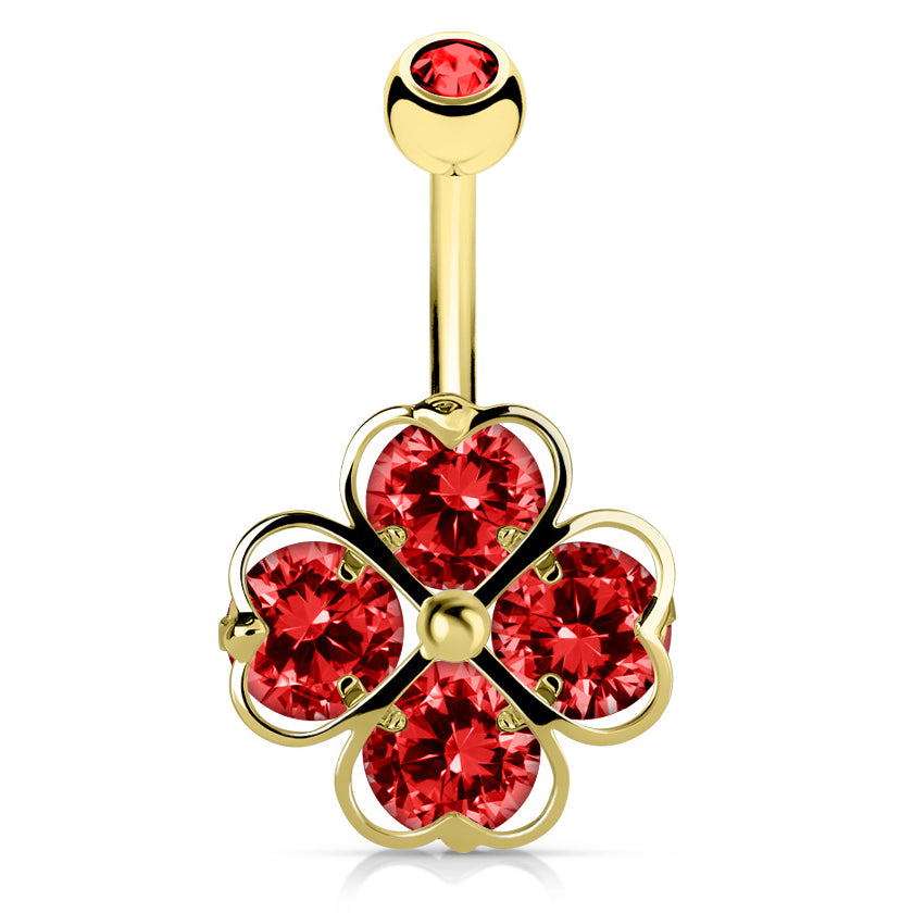 Red Clover Navel Bar in Gold - Fixed (non-dangle) Belly Bar. Navel Rings Australia.
