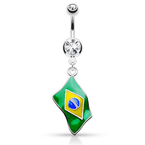 Around the World Flag Belly Rings - Dangling Belly Ring. Navel Rings Australia.