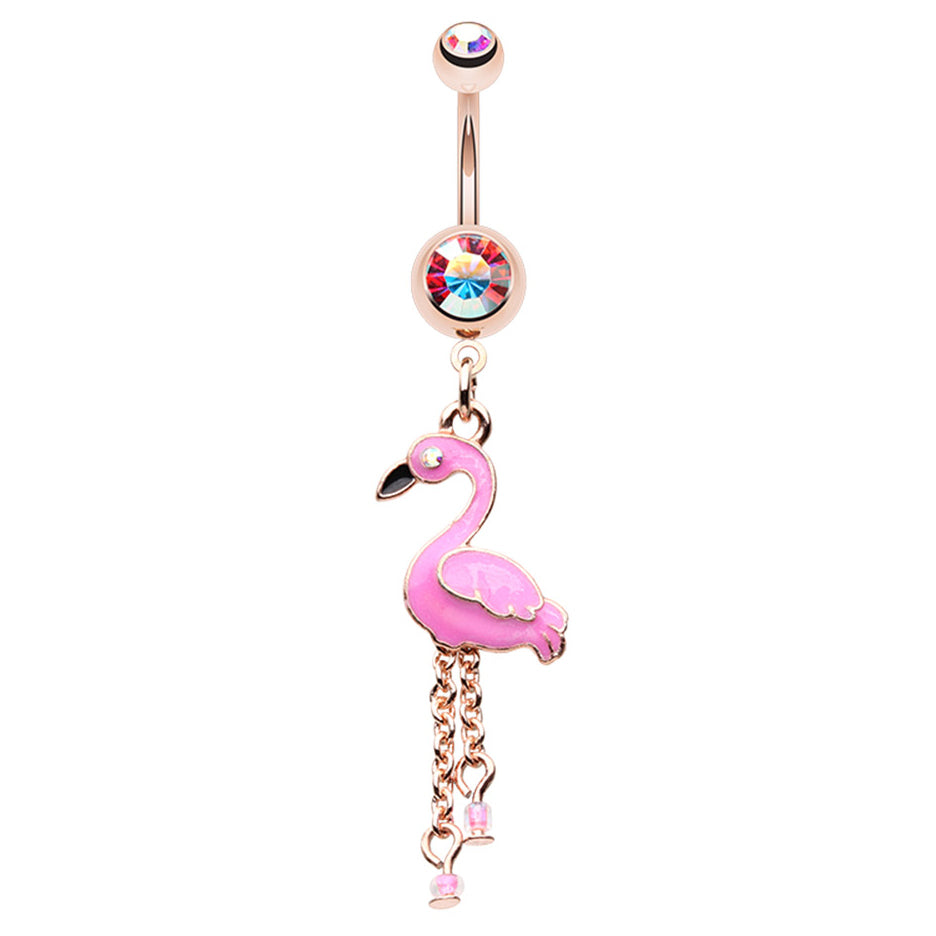 Chilean Flamingo Belly Dangle - Dangling Belly Ring. Navel Rings Australia.
