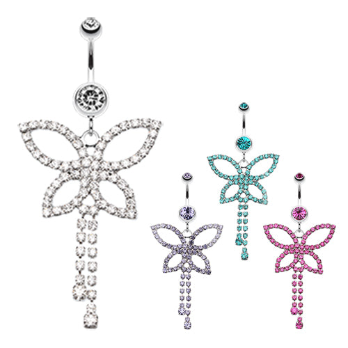 Jazzi Butterfly Belly Dangle - Dangling Belly Ring. Navel Rings Australia.