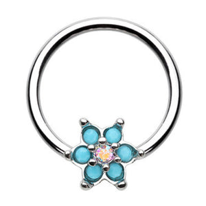 Turquosien Daisy Captive Belly Ring - Captive Belly Ring. Navel Rings Australia.