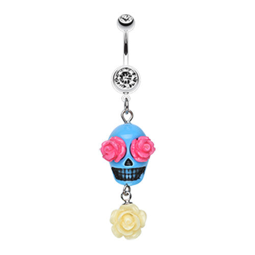 Floral Colour Lust Sugar Skull Belly Dangle - Dangling Belly Ring. Navel Rings Australia.