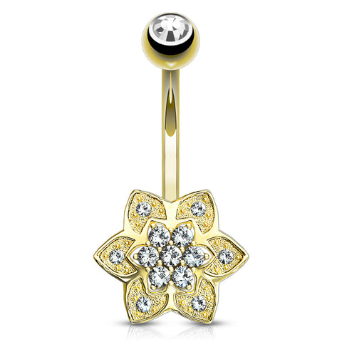 Fixed (non-dangle) Belly Bar. High End Belly Rings. 14K Gold Sugar Daisy Belly Ring