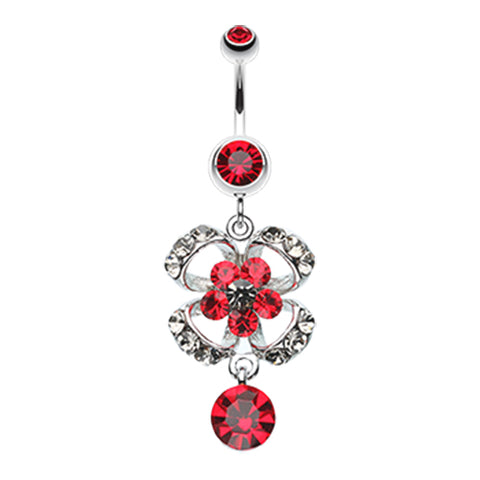 Red Midnight Bloom Belly Dangle