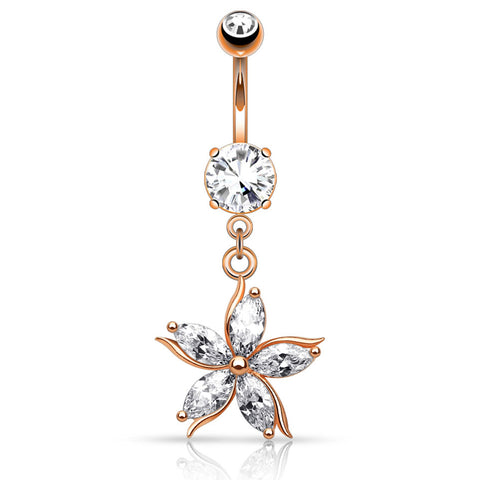 Dangling Belly Ring. High End Belly Rings. Antoinetta Daisy Petal Belly Ring in Rose Gold