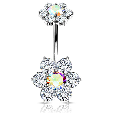 Aurora Borealis Internally Threaded Joyería Flower Belly Ring