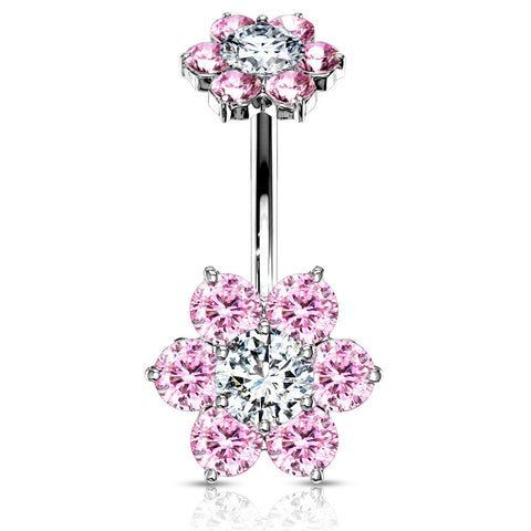 Pink Internally Threaded Joyería Flower Belly Ring