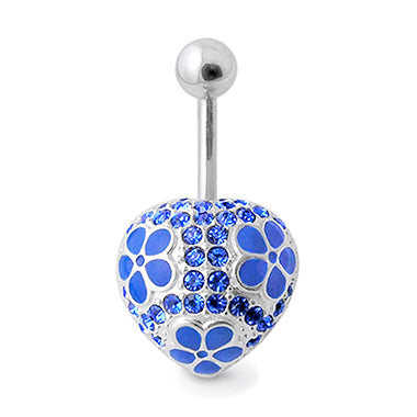 La Bleu 925 Silver Heart Belly Ring - Fixed (non-dangle) Belly Bar. Navel Rings Australia.