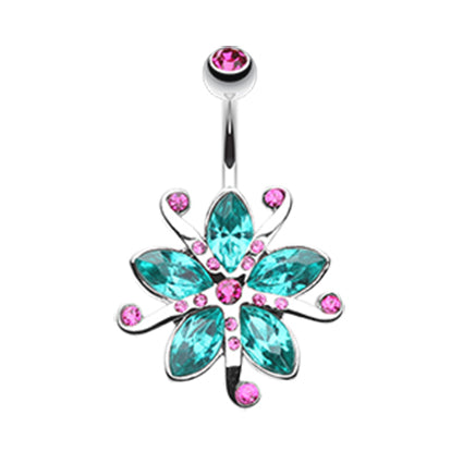 Fixed (non-dangle) Belly Bar. High End Belly Rings. Lily Bloom Navel Ring
