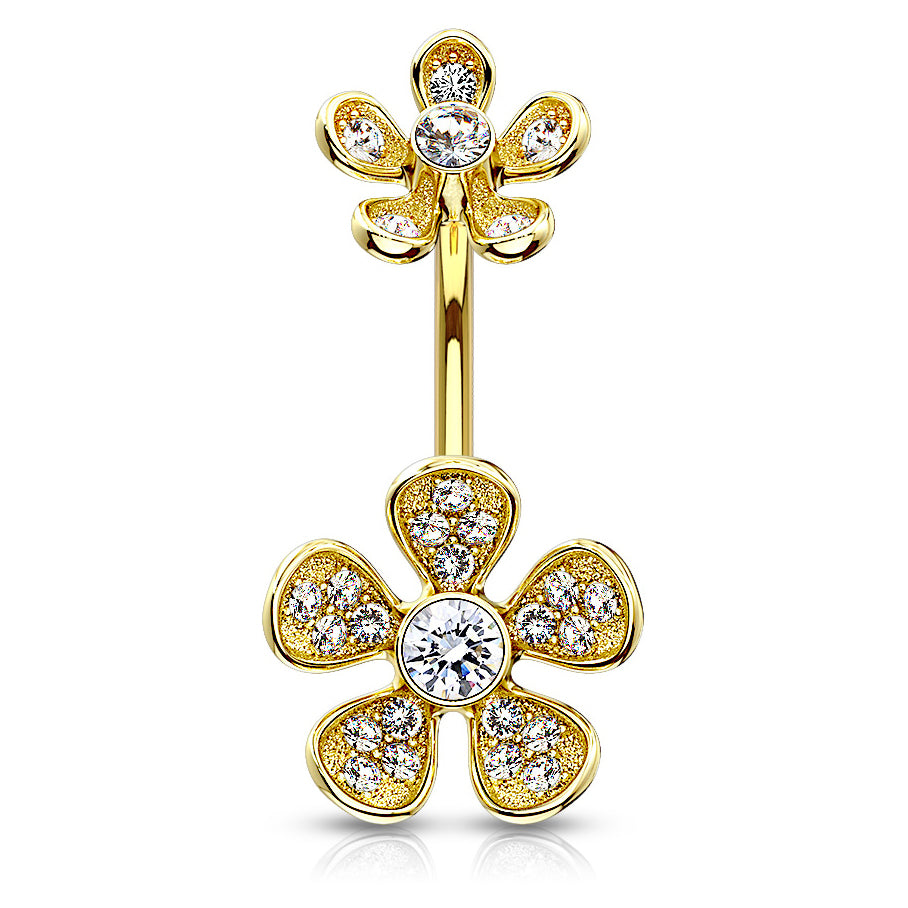 Floral Rhapsody Belly Bar in Gold - Fixed (non-dangle) Belly Bar. Navel Rings Australia.
