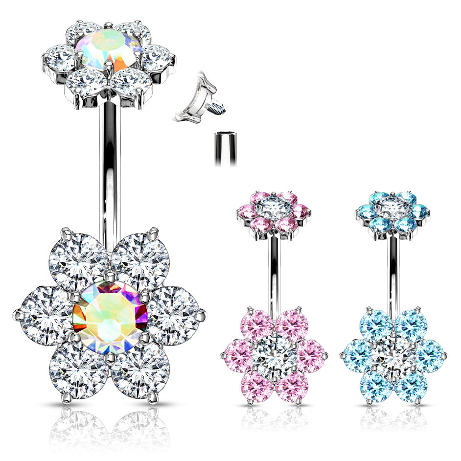Internally Threaded Joyería Flower Belly Ring - Split Spinal Belly Bar. Navel Rings Australia.